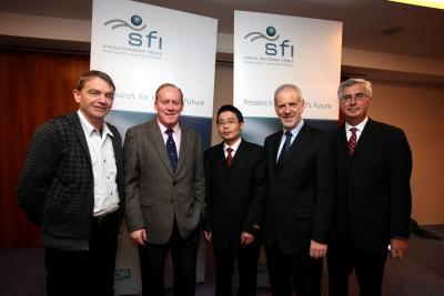 Dr Max Ammann, DIT; Mr Conor Lenihan, TD, Minister for Science, Technology, Innovation and Natural Resources; Dr Xiulong Bao, DIT; Prof Frank Gannon, Director General of Science Foundation Ireland; Dr Tony Betts, DIT